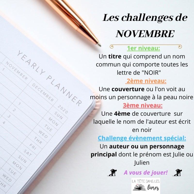 challenge littéraire novembre
