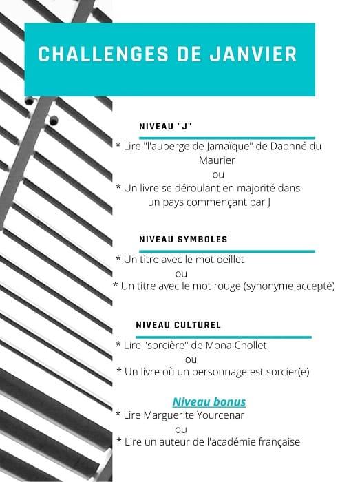 challenge littéraire janvier